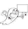 Cartoon Ghost Holding a Sign vector image vector image