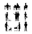 cartoon silhouette black characters modern aged vector image