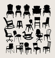 chair set silhouette vector image vector image