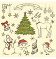 collection christmas elements vector image vector image