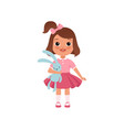 cute litlle girl with toy bunny stage of growing vector image vector image
