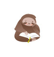 cute sloth sitting and reading book with interest vector image vector image