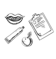 Dental and hygiene sketch icons vector image