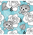 endless background with sugar skulls and roses vector image vector image