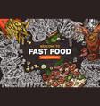 fast food background on chalkboard vector image
