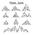fire flames icon set in thin line style vector image vector image