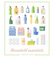 Flat icons household chemicals and paper products vector image