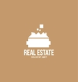 Flat real estate brown house villa logo vector image