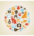 frame with cat and dog icons vector image vector image