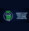 glowing neon irish pub signboard in circle frame vector image vector image