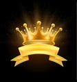 gold crown ribbon winner shiny sign black vector image vector image