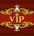 gold vip card on red jewelry background vector image vector image