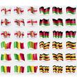 Guernsey Malawi Mali Uganda Set of 36 flags of the vector image
