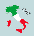 hand drawn stylized map italy with flag travel vector image