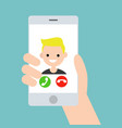hand holding a smart phone incoming call from vector image
