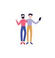 happy flat men friend hugging making selfie vector image vector image