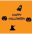 happy halloween icon on orange background flat vector image vector image
