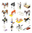 horse riding isometric icons set vector image vector image