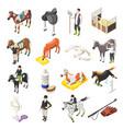 Horse riding isometric icons set
