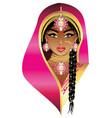 indian bride portrait vector image