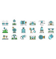irrigation system icons set line color vector image vector image