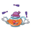 juggling transparent teapot character cartoon vector image