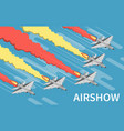 military airshow isometric top view vector image vector image