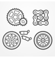 Motorcycle parts icons vector image vector image