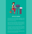 office work banner text sample woman at workplace vector image vector image