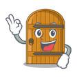 okay wooden door isolated on character cartoon vector image