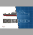 outline blueprint military ship top front vector image vector image