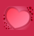 paper art style of frame heart shape on pink vector image vector image