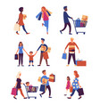 people carrying shopping bags with purchases vector image