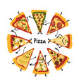 pizza slices character set sketch for your design vector image