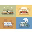RV Travel Concept Landscapes in Flat Design vector image vector image