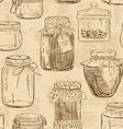 Seamless pattern of mason jars vector image