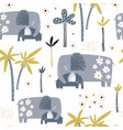 seamless pattern with cute mom and baby elephant vector image vector image