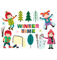 set of isolated winter time with kids part 2 vector image vector image