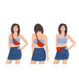 set young girls wearing belt bags over white vector image vector image
