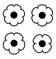 simple black and white flower icon symbol logo set vector image vector image