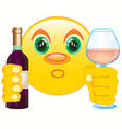 smiley with bottle blame and goblet vector image vector image