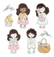 spring easter children characters vector image vector image
