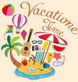 Vacation theme with island and beach objects vector image vector image