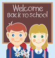 Welcome back to school card with a boy a girl and vector image