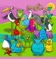 bird characters group cartoon vector image