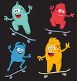 Set of cheerful and colorful cartoon monster who vector image