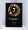 2 years anniversary invitation card template vector image vector image