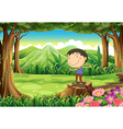 A cute young boy above the stump at the jungle vector image vector image