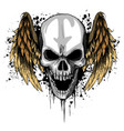 a human skull with wings vector image vector image