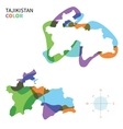 Abstract color map of Tajikistan vector image vector image